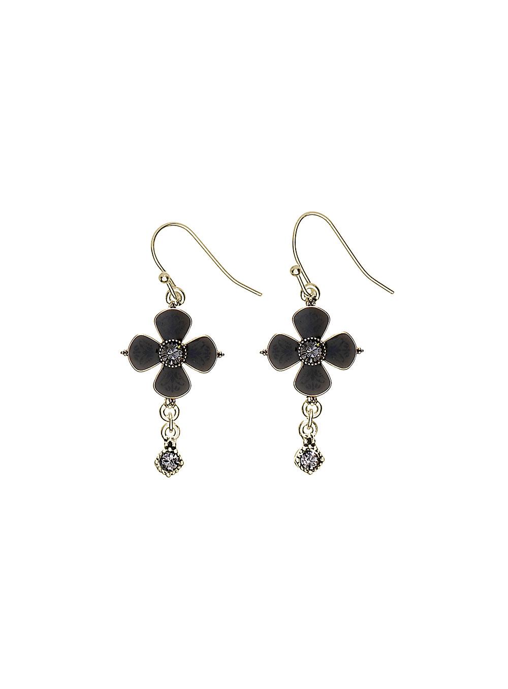 PILGRIM Devotion Flower Drop Earrings - Gold Plate Black Diamond (Grey) Swarovski Crystals BNWT