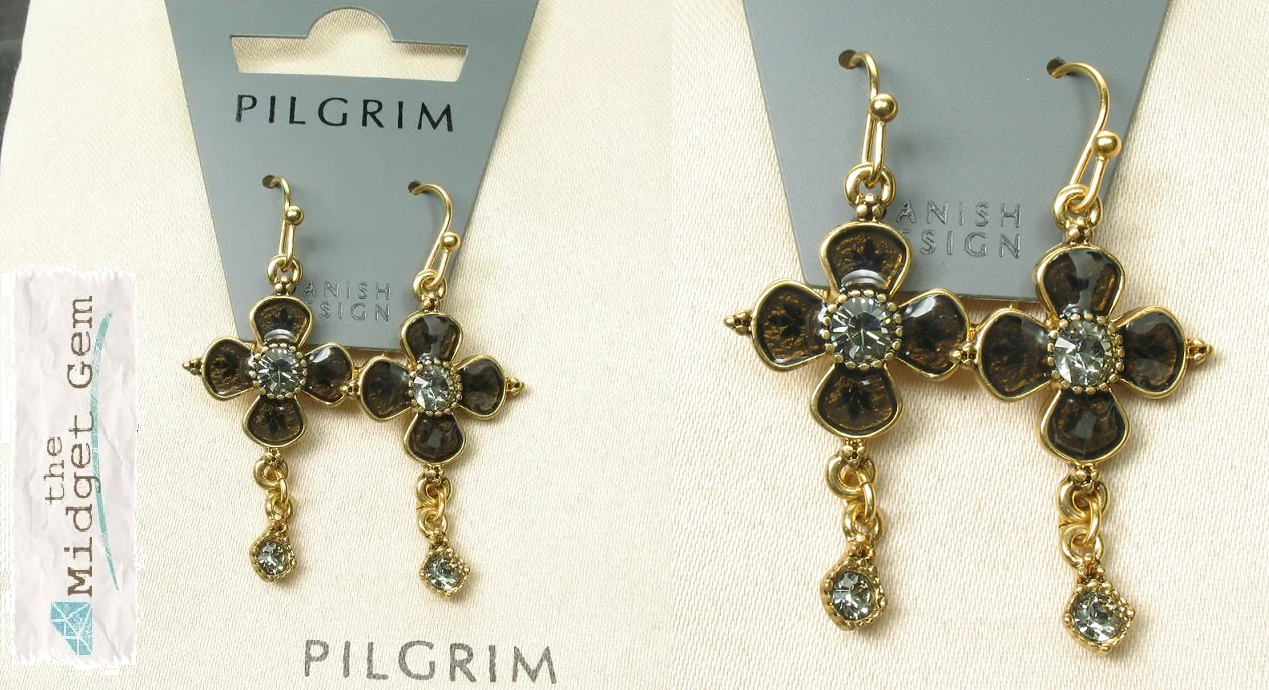PILGRIM Devotion Flower Drop Earrings - Gold Plate Black Diamond (Grey) Swarovski Crystals BNWT