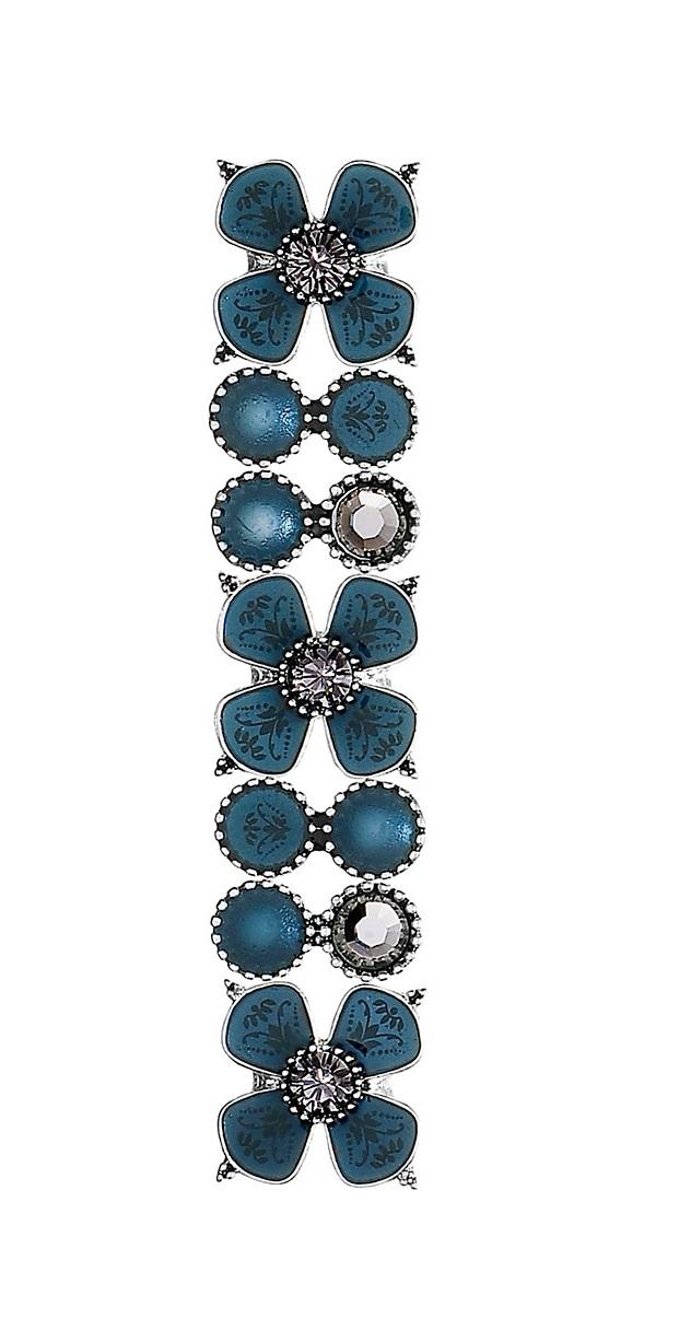 PILGRIM - Devotion Flower Panel Stretch Bracelet, Teal & Grey Crystal, Silver Plate BNWT