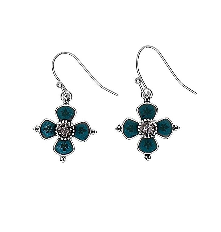 PILGRIM - Devotion Flower Drop Earrings - Silver Plate Teal Enamel Black Diamond (Grey) Swarovski Crystals BNWT