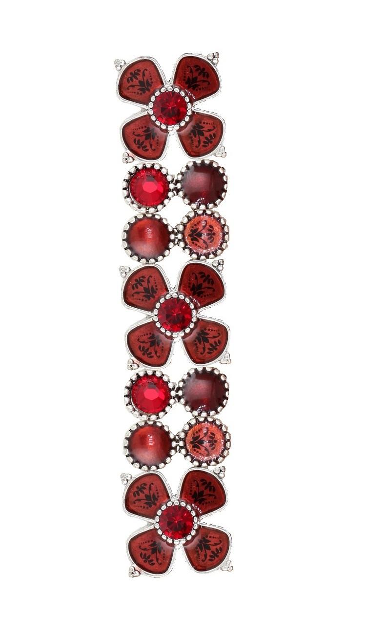 PILGRIM - Devotion Flower Panel Stretch Bracelet, Red Crystal, Silver Plate BNWT