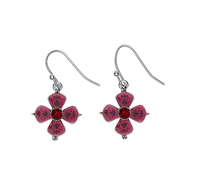 PILGRIM - Devotion Flower Drop Earrings - Silver Plate Red Enamel Red Siam Swarovski Crystals BNWT