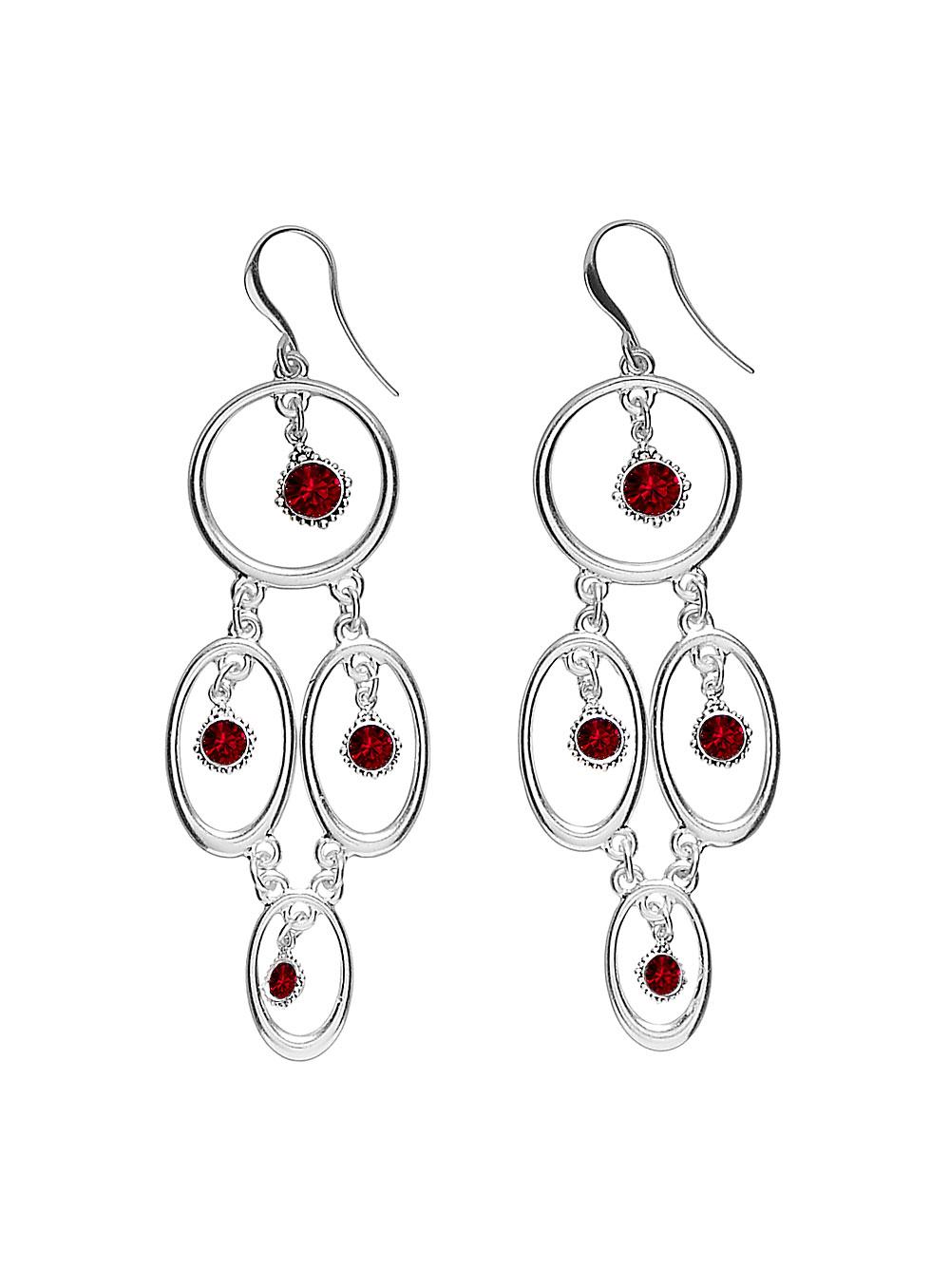 PILGRIM Devotion Chandelier Drop Earrings - Silver Plate Siam Red Swarovski Crystals BNWT