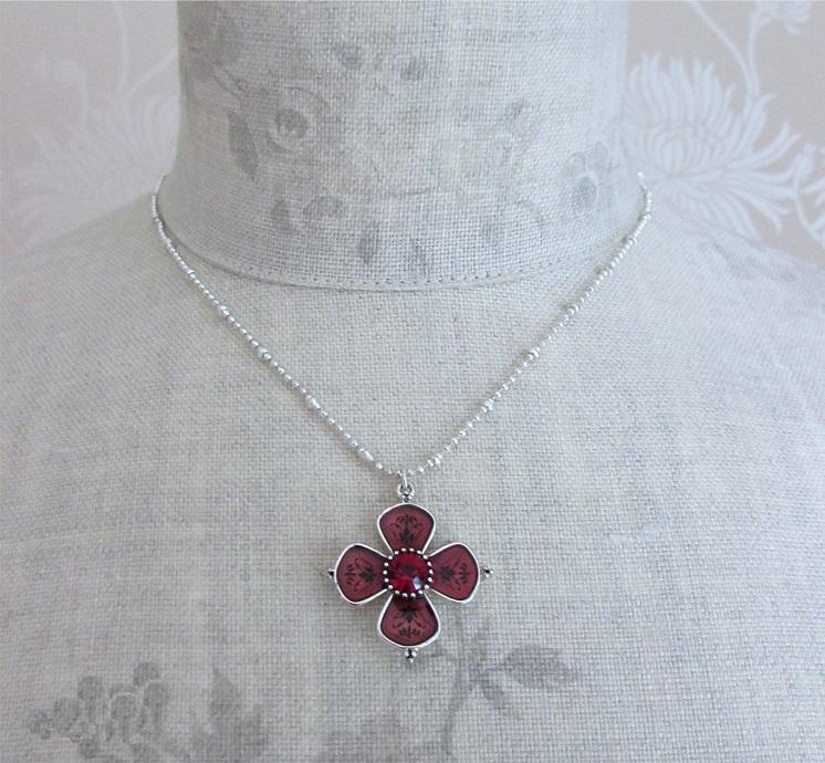 PILGRIM - Devotion Small Flower Necklace & Earrings - Red/ Silver Plate BNWT
