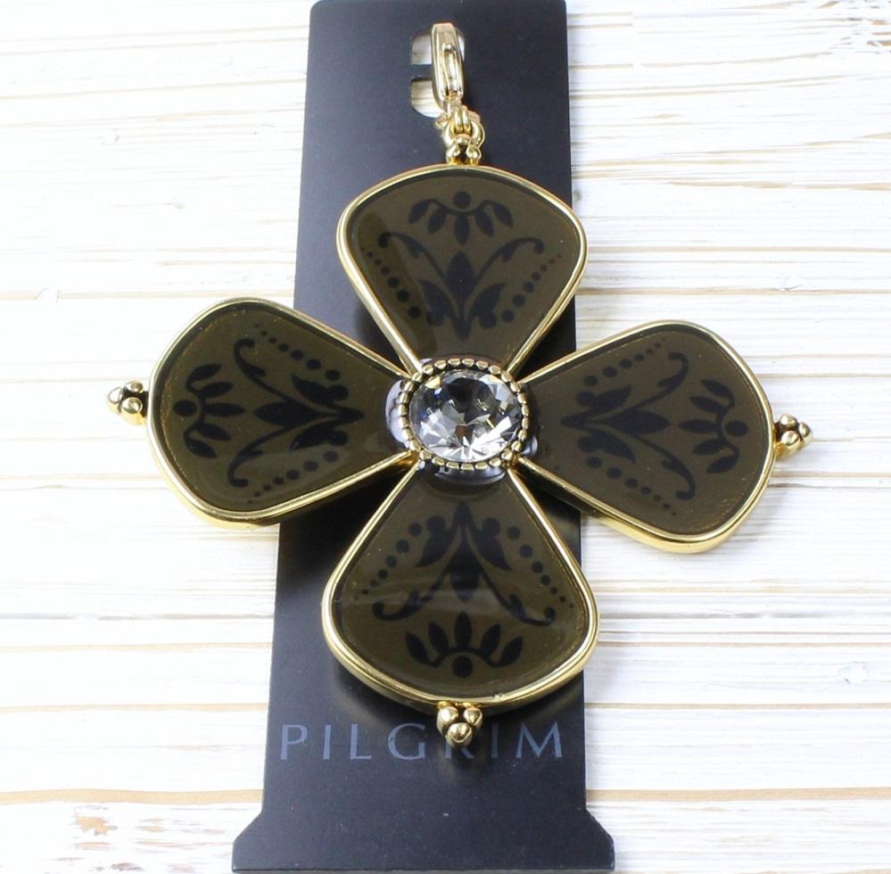 PILGRIM - Devotion Flower MEGA Charm - Gold Plate/Taupe Enamel BNWT