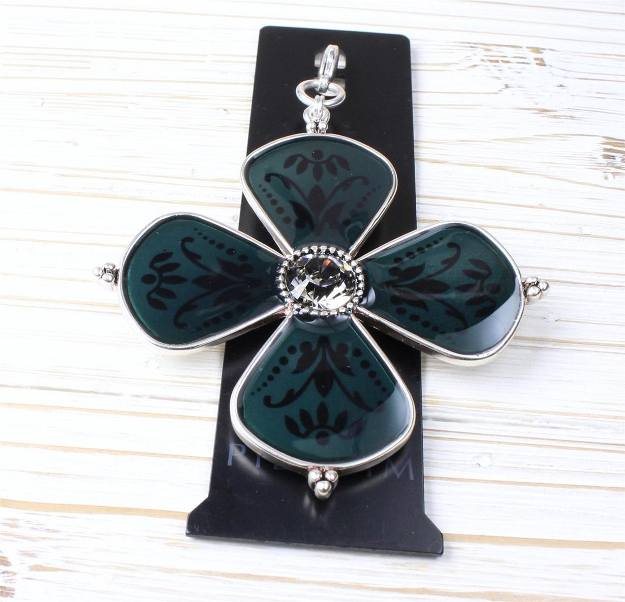PILGRIM - Devotion Flower MEGA Charm - Silver Plate/Teal Enamel BNWT