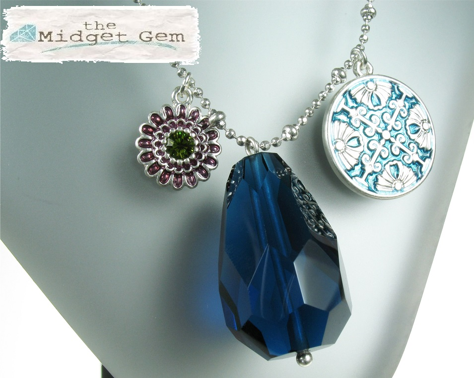 PILGRIM - Ethnic Celebration - Long Flower & Crystal Necklace - Blue/Silver PlateBNWT