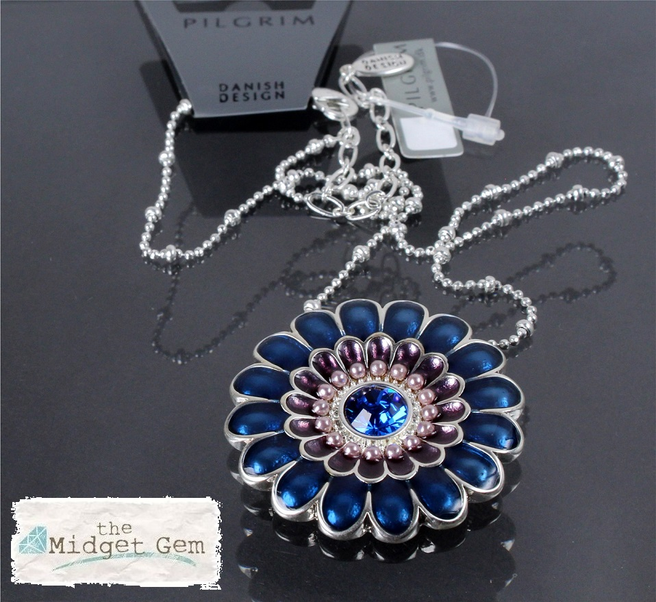 PILGRIM - Ethnic Celebration - Flower Necklace - Blue/Silver Plate BNWT