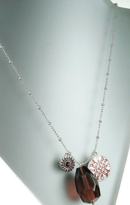 PILGRIM - Ethnic Celebration - Long Flower & Crystal Necklace - Red/Silver Plate BNWT