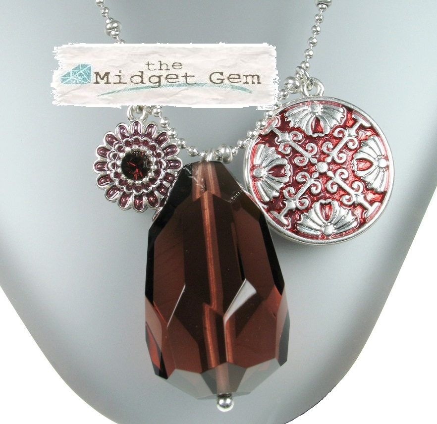 PILGRIM - Ethnic Celebration - Long Flower & Crystal Necklace - Red/Silver Plate BNWT