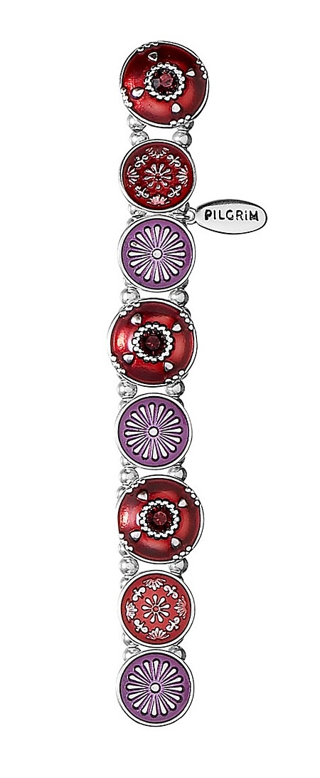 PILGRIM - Ethnic Celebration - Flower Panel Bracelet - Red/Silver Plate BNWT