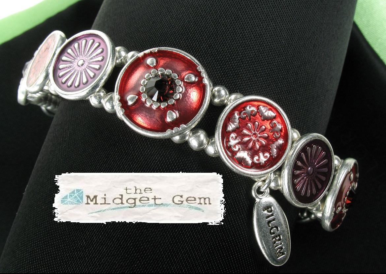 PILGRIM - Ethnic Celebration - Flower Panel Bracelet - Red/Silver Plate BNWT