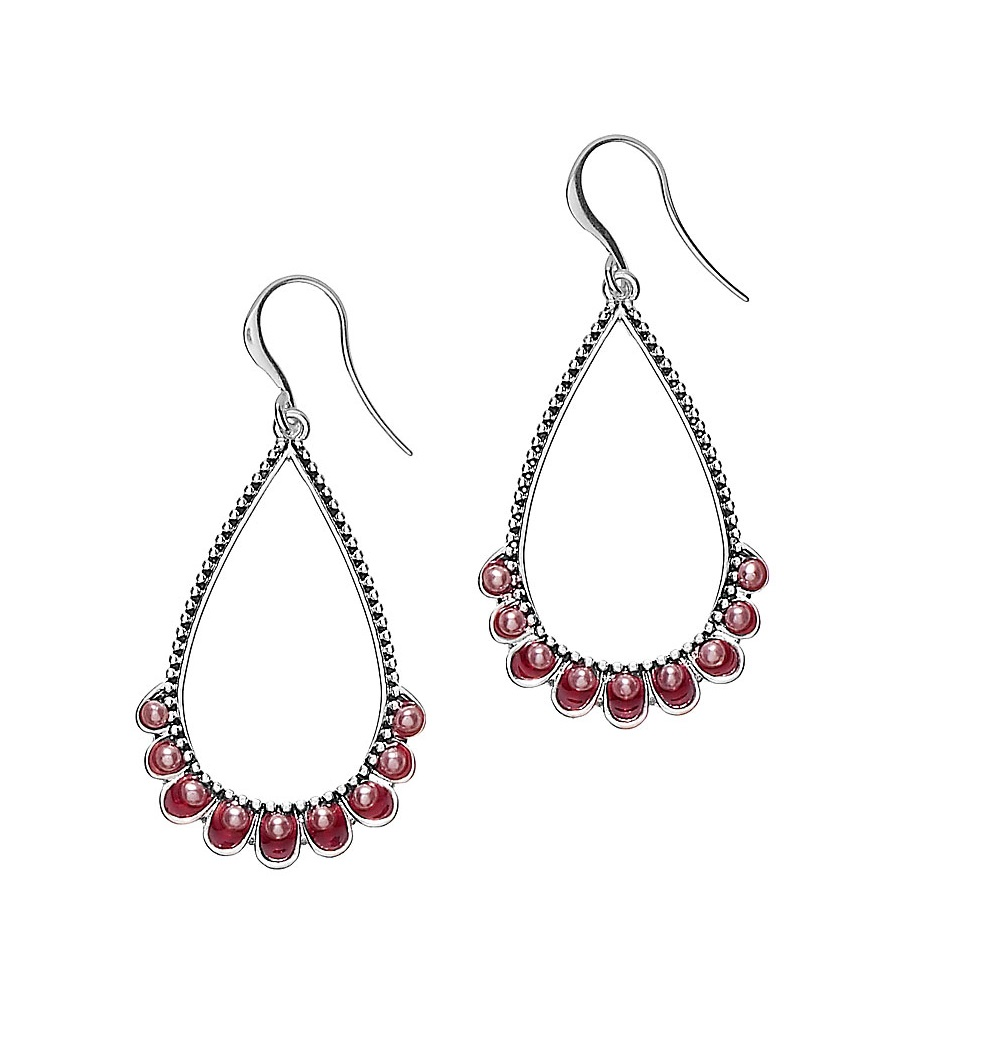 PILGRIM - Ethnic Celebration - Tear-Drop Earrings - Red/Silver Plate BNWT