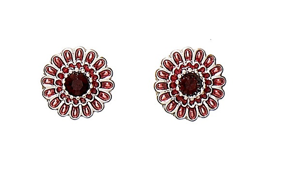 PILGRIM - Ethnic Celebration - Flower Stud Earrings - Silver/Red/Burgundy BNWT