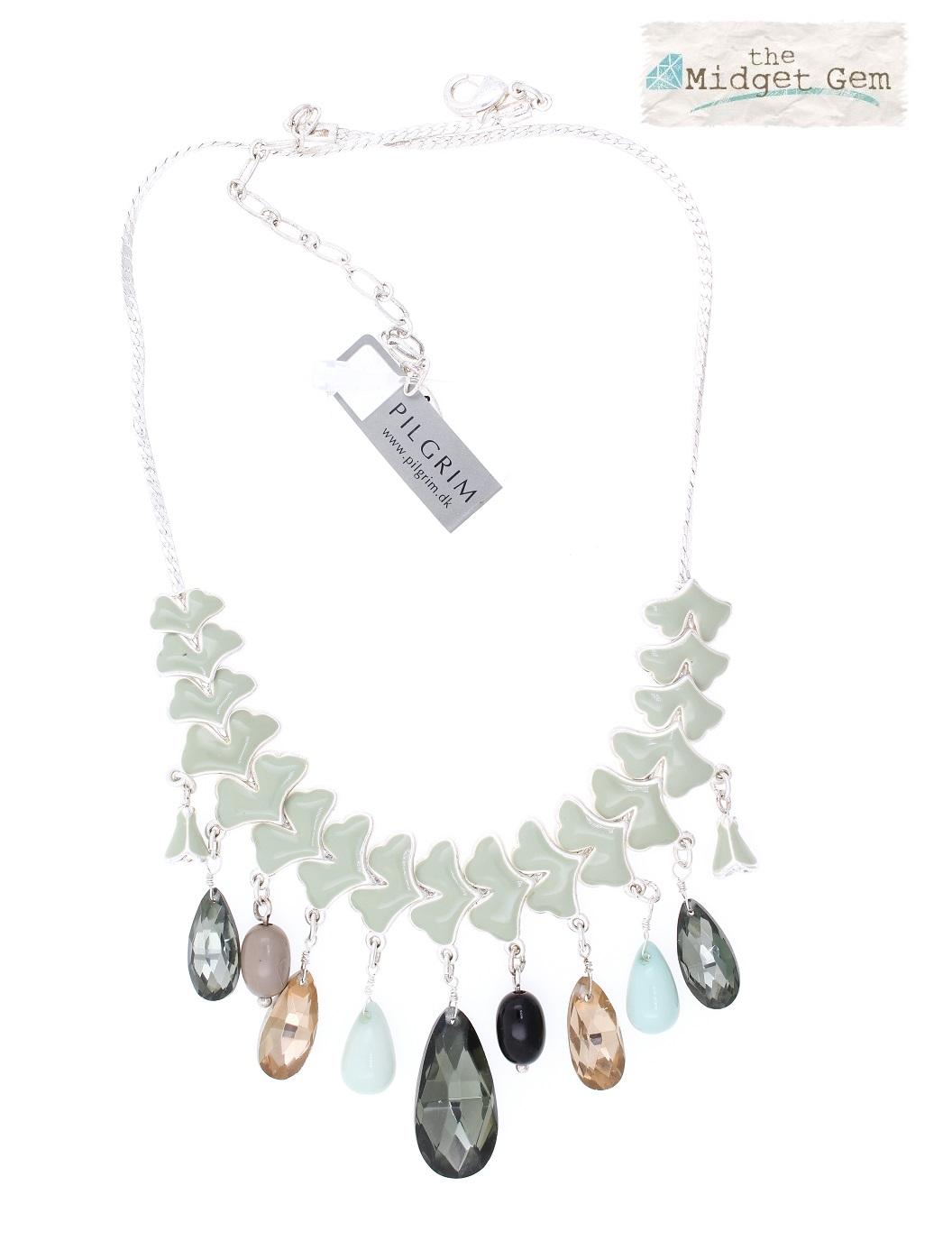 PILGRIM - Carnival - Gingko Leaf & Crystal Drop Necklace - Silver/Green Grey BNWT