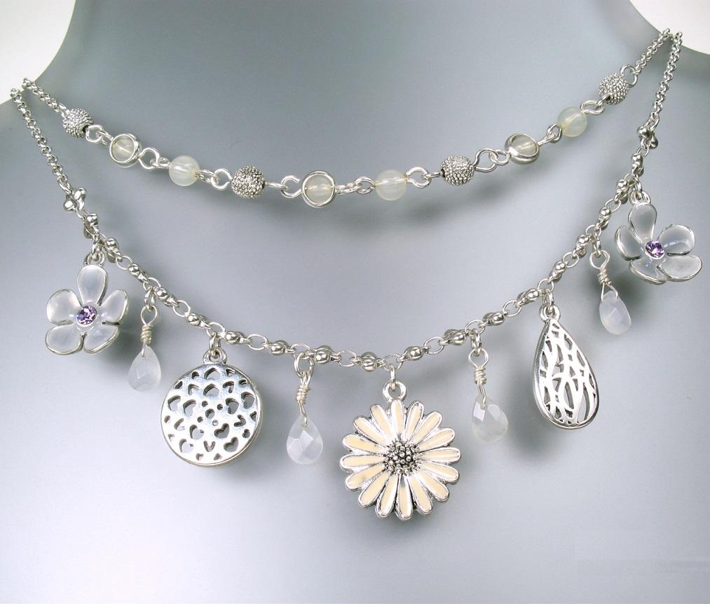 PILGRIM - Flourish - Flower Charm Double Strand Necklace - Silver/Nude/Grey BNWT