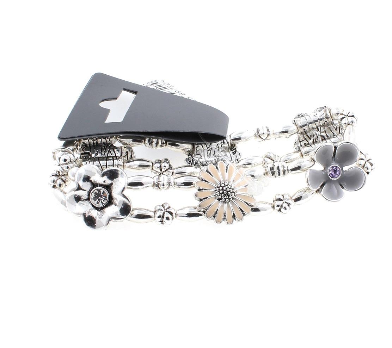 PILGRIM - Flourish - Flower Charm Stretch Bracelet - Silver/Nude/Grey BNWT