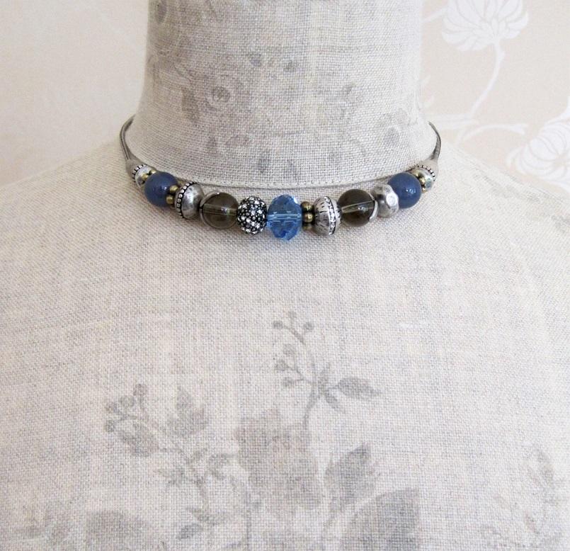 PILGRIM Necklace  Oxidised Silver/Blue SWAROVSKI Glass Charm Bead BNWT