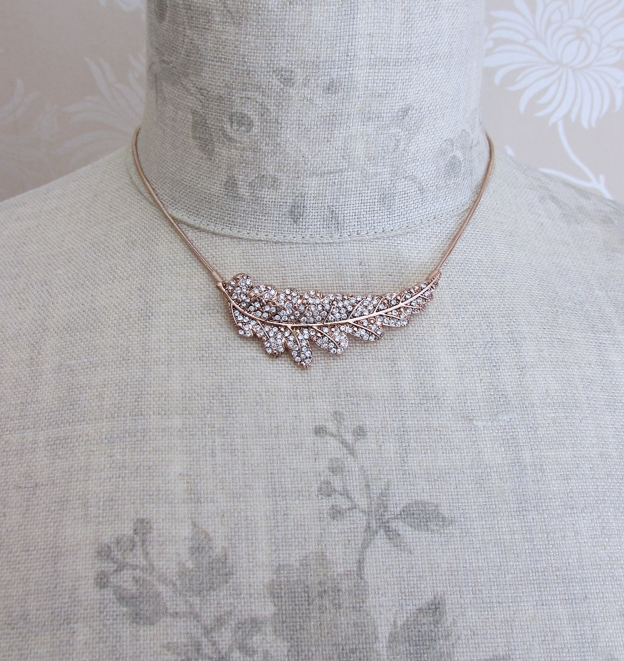 PILGRIM - Leaves - Large Leaf Necklace - Rose Gold Plate/Clear BNWT