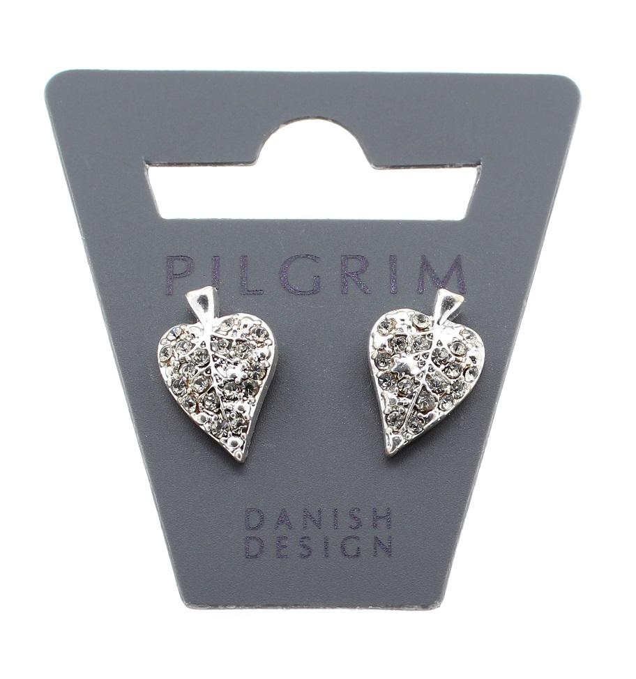 PILGRIM - Leaves - Leaf Stud Earrings - Silver Plate/Clear BNWT