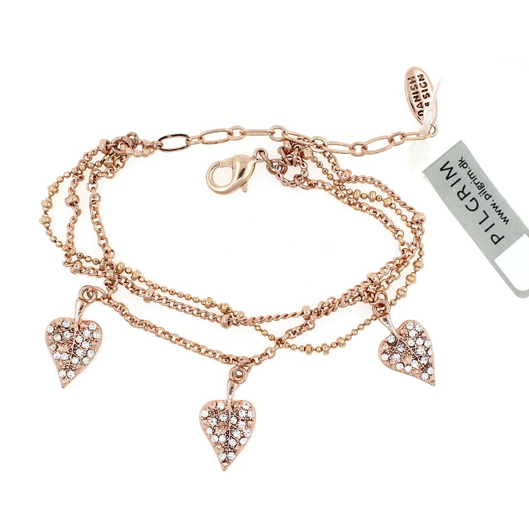 PILGRIM - Leaves - Leaf Charm Bracelet - Rose Gold Plate/Clear BNWT