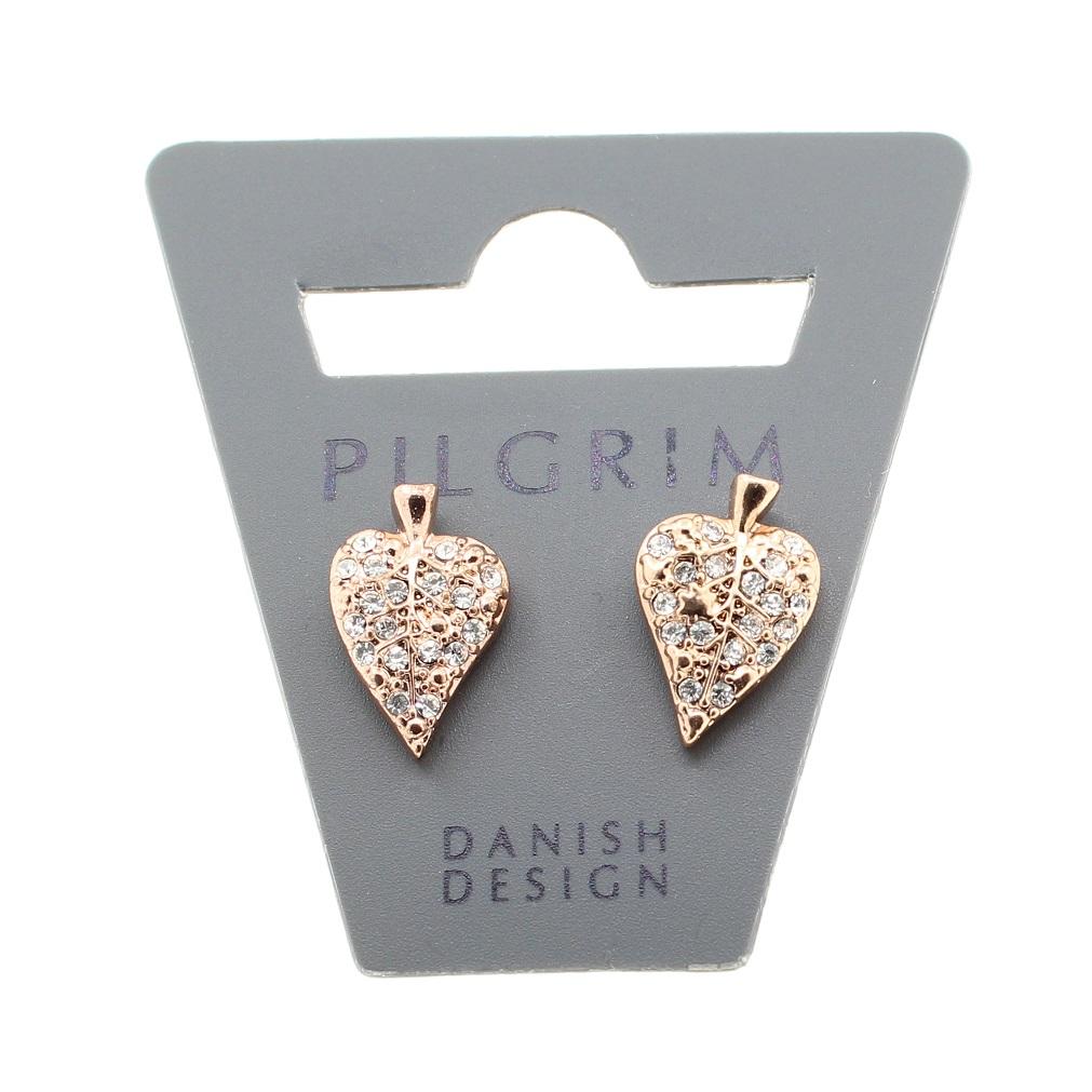 PILGRIM - Leaves - Leaf Stud Earrings - Rose Gold Plate/Clear BNWT