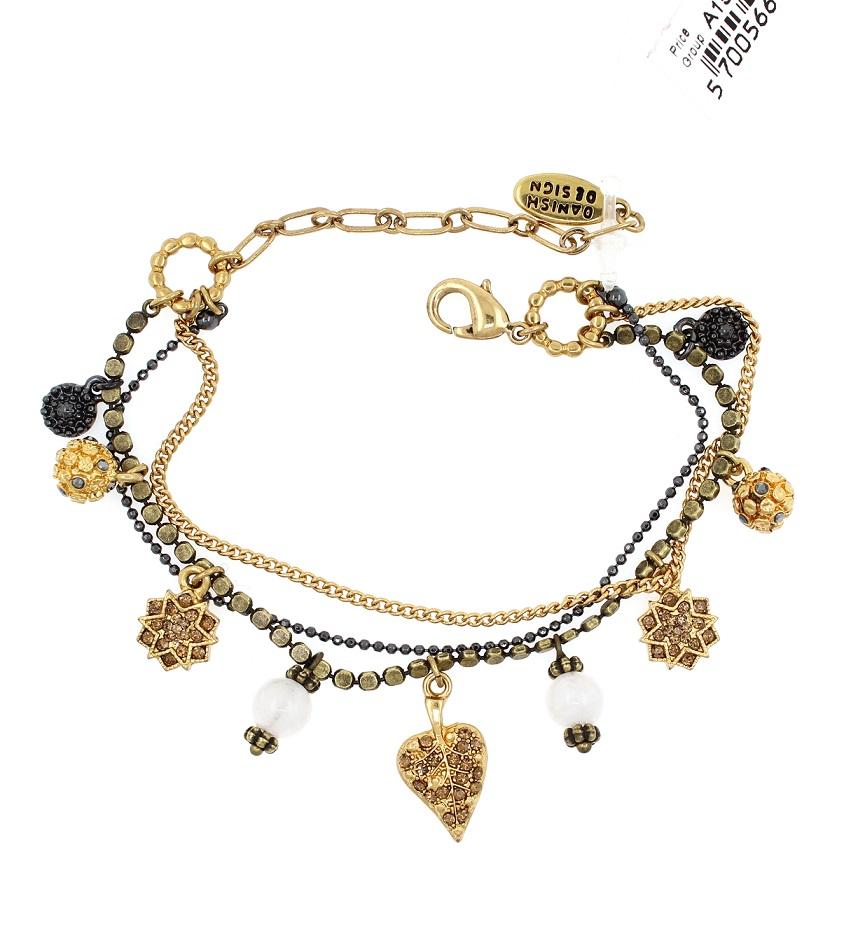 PILGRIM - Bohemian Rhapsody - Charm Bracelet - Multi-Gold Plate BNWT