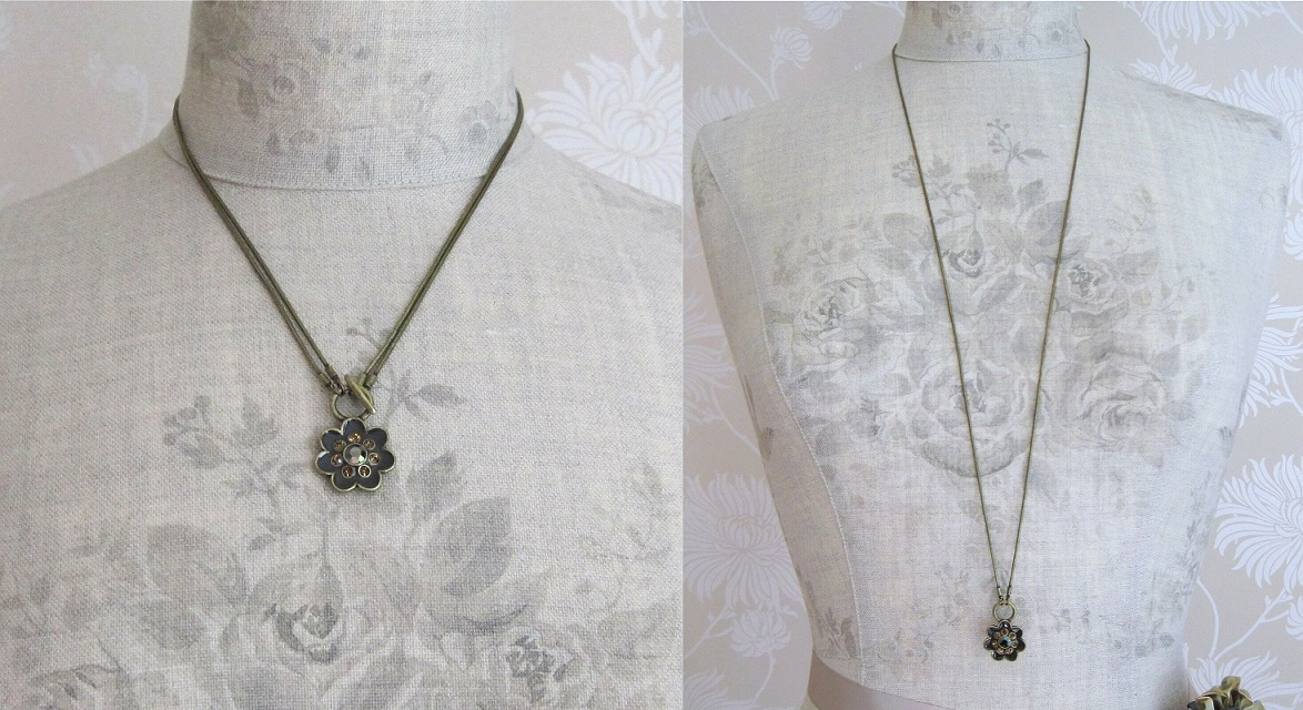 PILGRIM - Expectations - Floral Pendant Necklace - 2 Lengths - Gold Plate/Browns BNWT