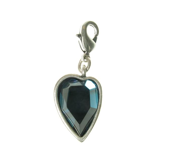 A & C Faceted BLUE Crystal Heart Charm Silver Plate