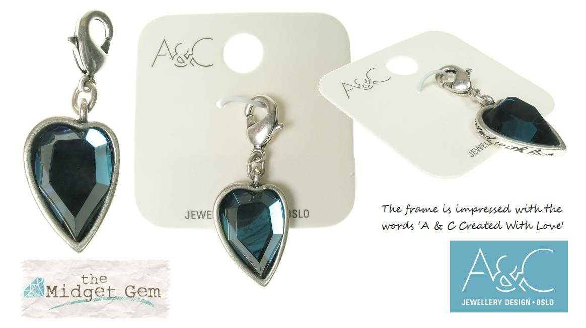 A & C - Faceted BLUE Crystal Heart Charm Silver Plate