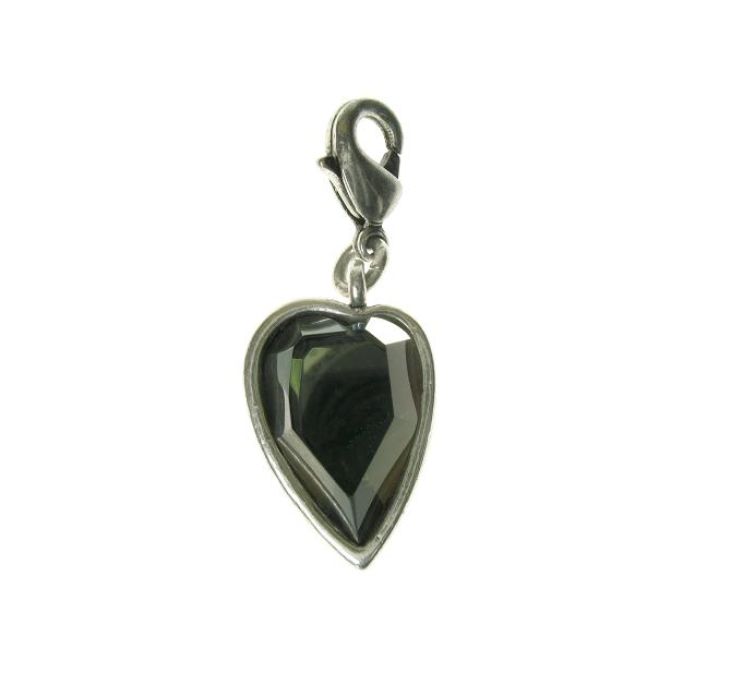 A & C Faceted KHAKI Crystal Heart Charm Silver Plate