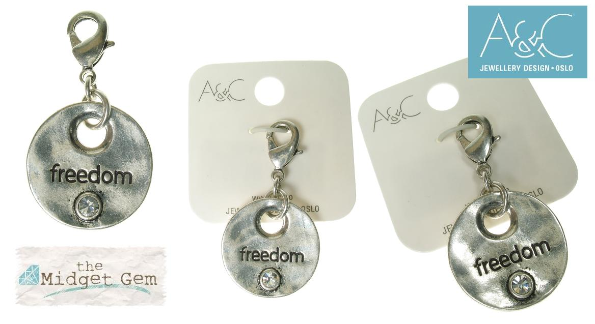 A & C - 'FREEDOM' Disc Clasp-On Charm Silver Plate