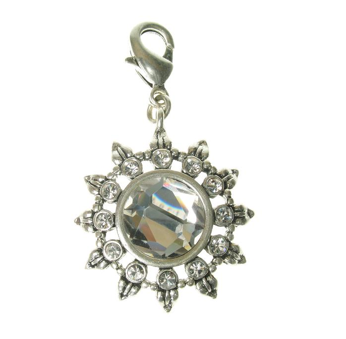 A & C Medium Sized Sun Flower Charm Silver Plate