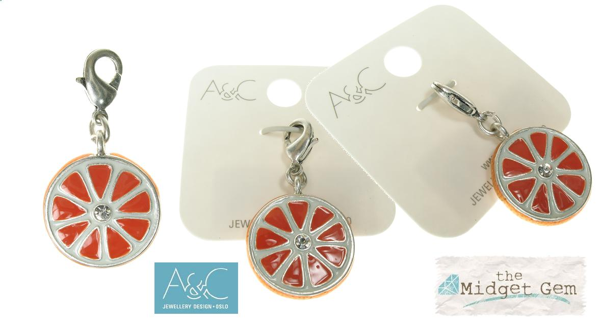 A & C - Slice Of Orange Clasp-On Charm Silver Plate