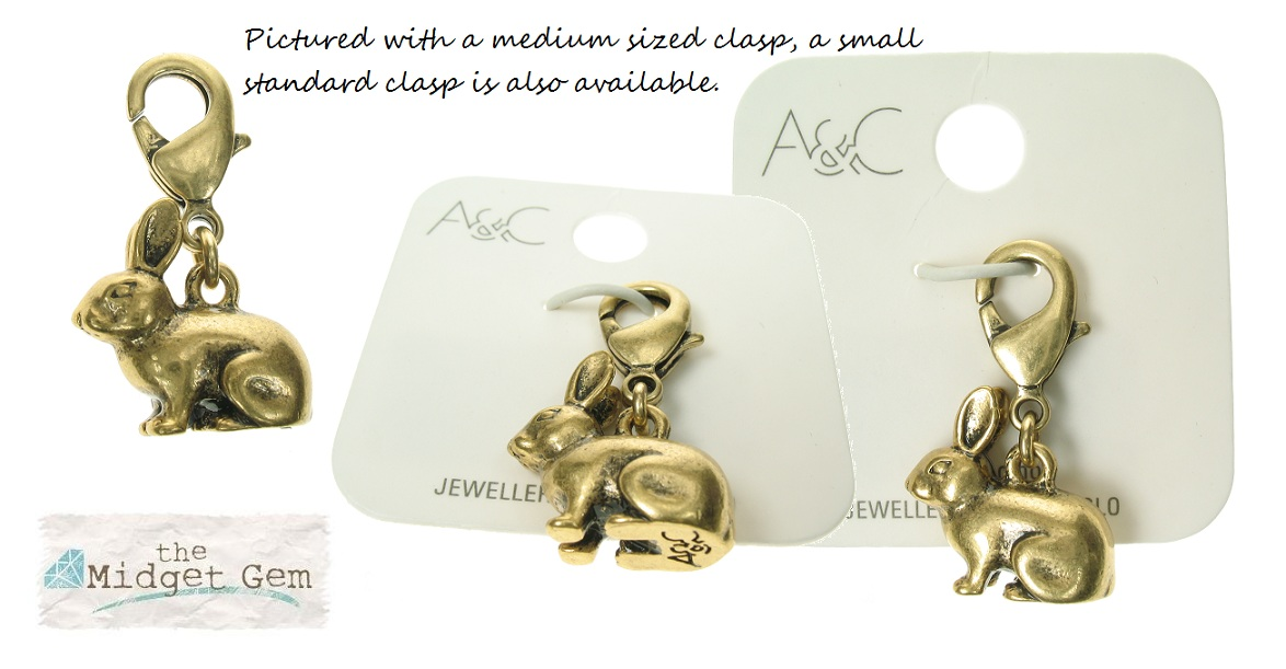 A & C - Small Bunny 'Dolls House' Clasp-On Charm Bronze Plate