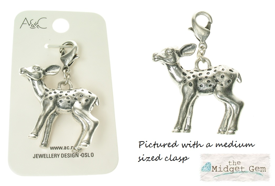 Bambi Fawn Baby Deer Charm - Silver Plate - A & C - BNWT