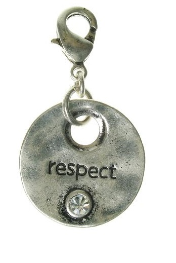 A & C - 'RESPECT' Disc Clasp-On Charm Silver Plate