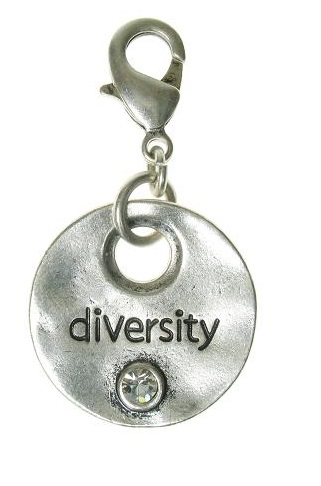 A & C - 'DIVERSITY' Disc Clasp-On Charm Silver Plate