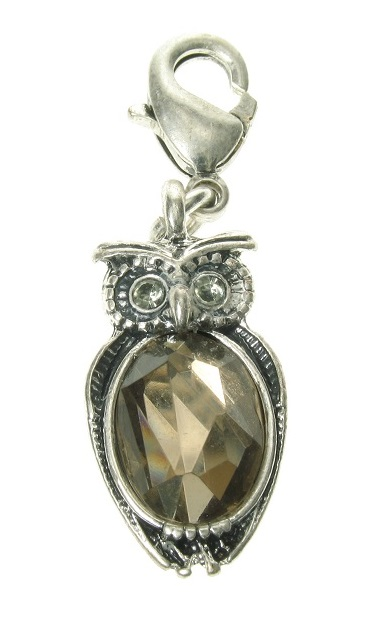 A & C - Little OWL Crystal Clasp-On Charm Silver Plate
