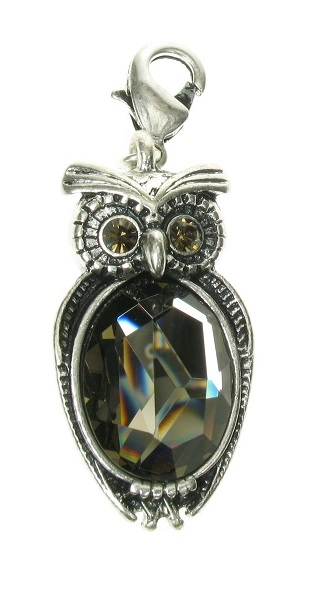 A & C - Beautiful Big OWL Clasp-on Charm Silver Plate
