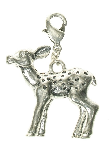 A & C - Bambi Fawn Baby Deer Clasp-On Charm Silver Plate
