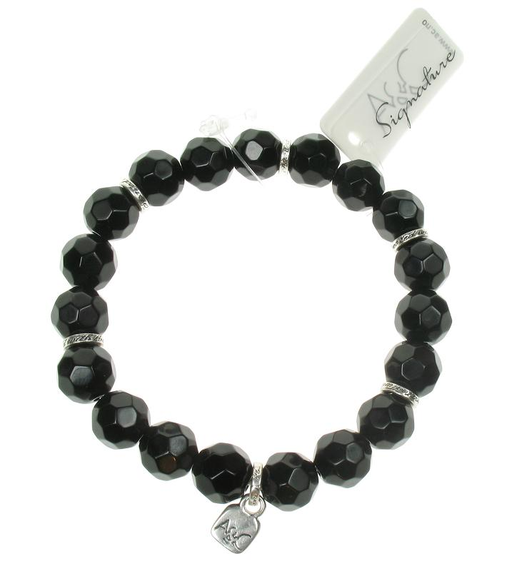 A & C Black Glass Bead Bracelet For Clasp-on-Charms