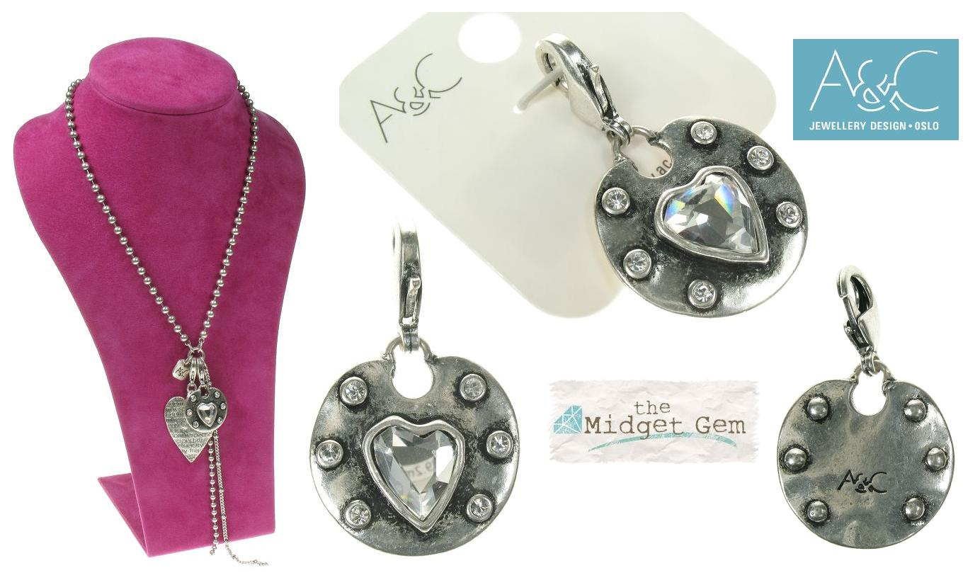 A & C - Medium Crystal Heart & Frame Disc Clasp-on Charm Silver Plate