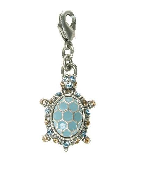 A & C Blue Enamel Turtle Tortoise Charm Silver Plate