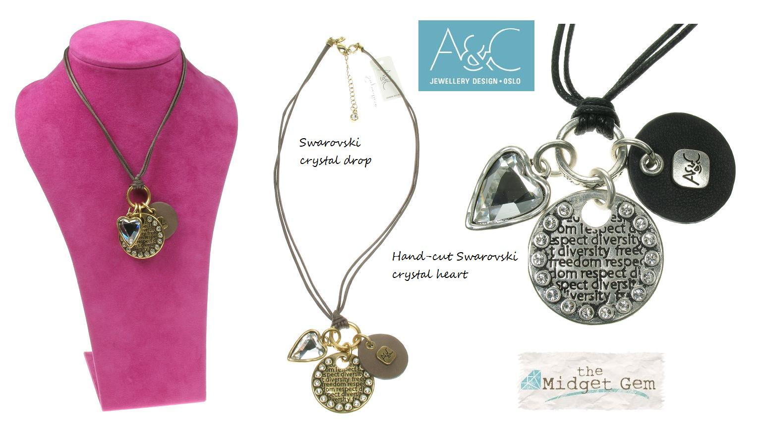 A & C Impressed Beaten 'Tweed'  Discs & Heart Charm Necklace