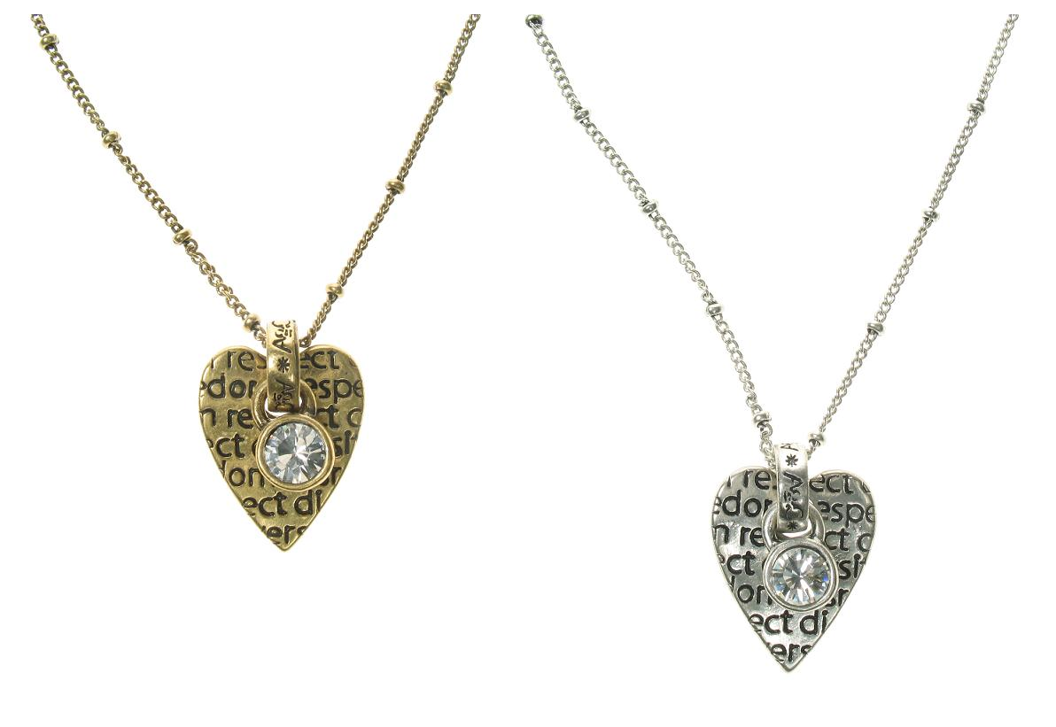 A & C Tweed Heart & Swarovski Drop Necklace