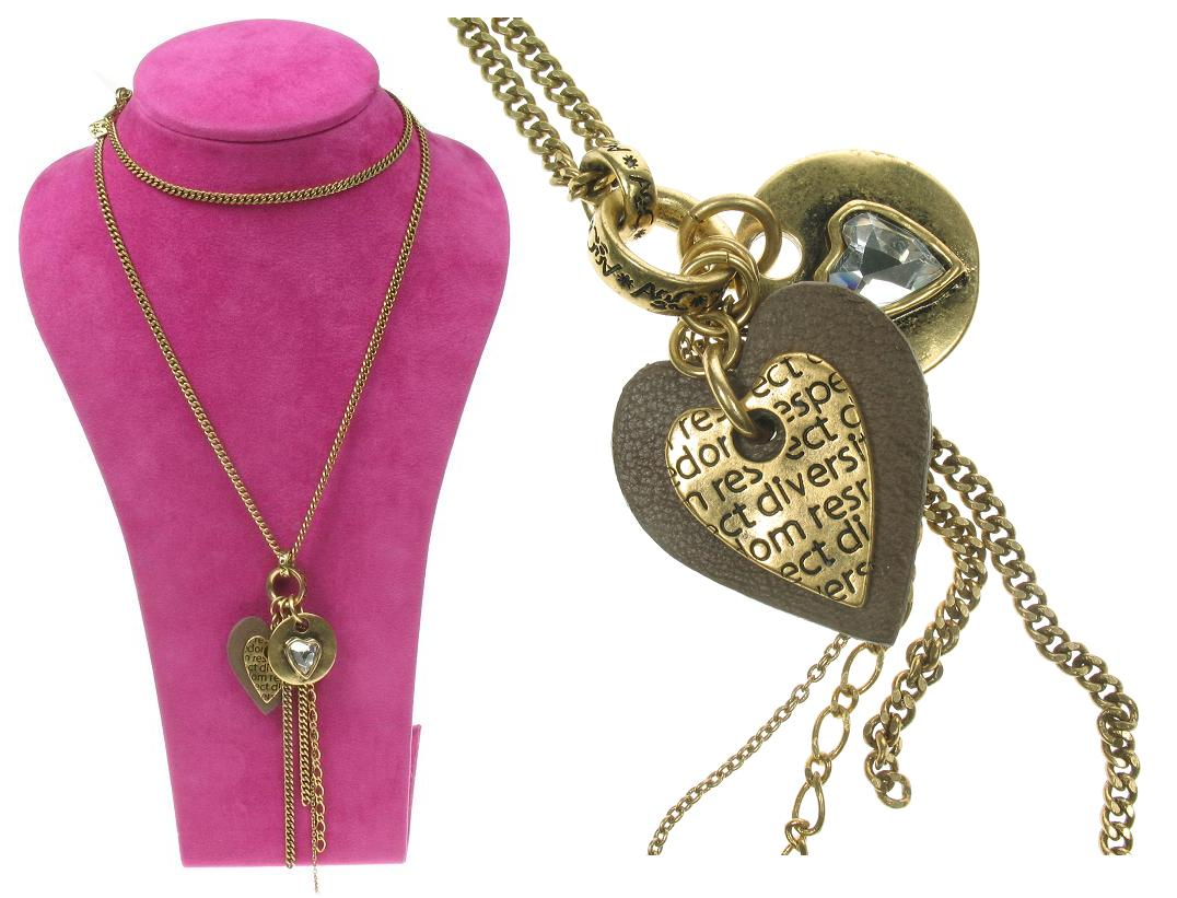 A & C Gold Impressed Beaten 'Tweed'  Heart Charm Long Necklace