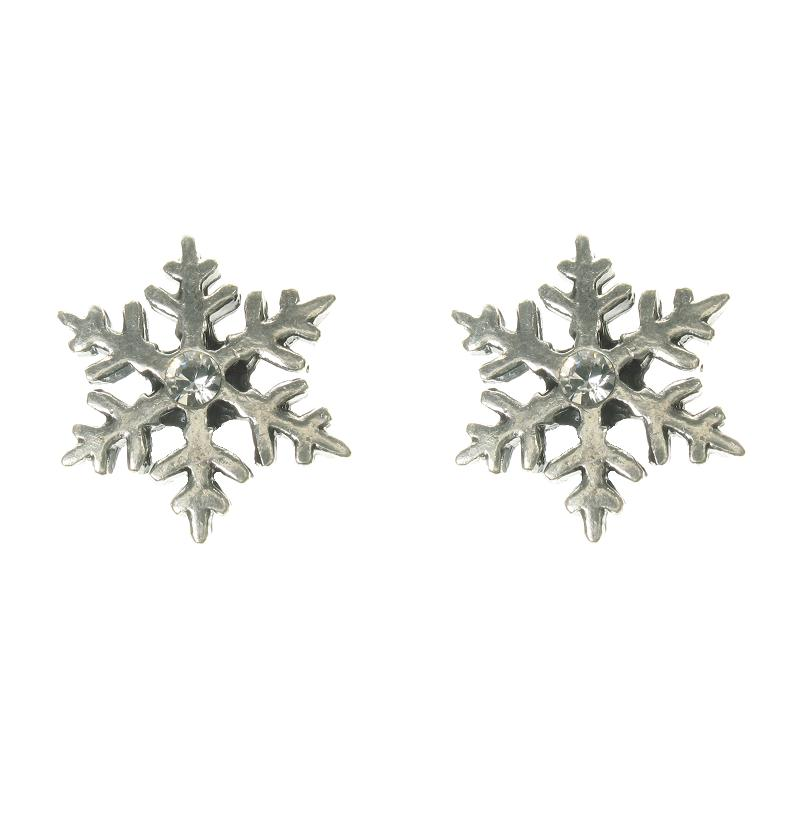 A & C Snow Flake Stud Earrings