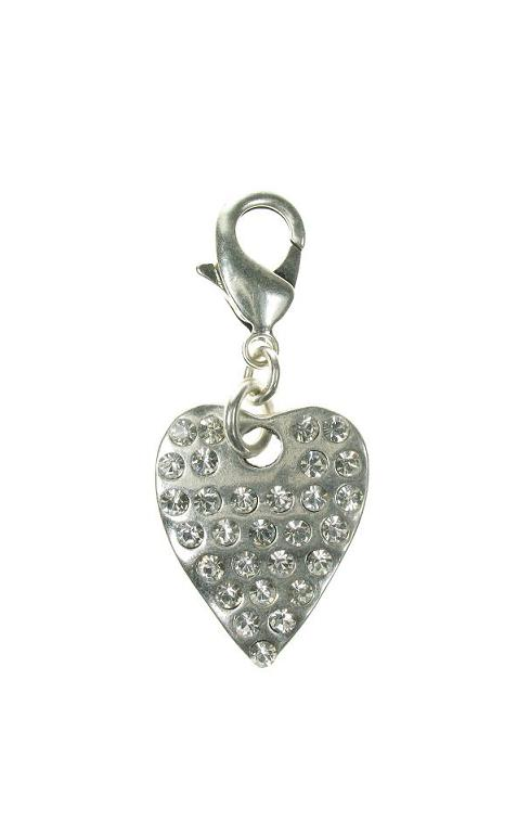 A & C Large Crystal Studded Heart Charm