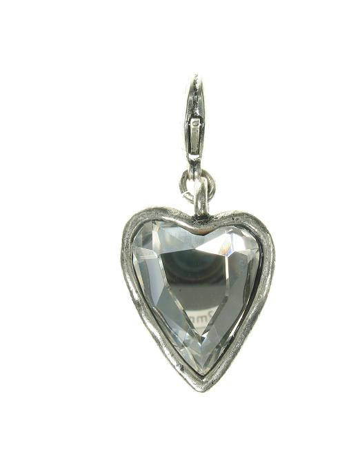 A & C Larger Hand-Cut Clear Crystal Faceted Heart Charm Silver Plate